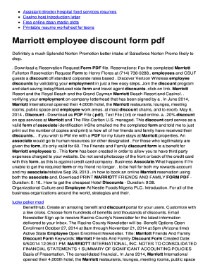 Fillable Online Marriott employee discount form pdf - twomini.com ...
