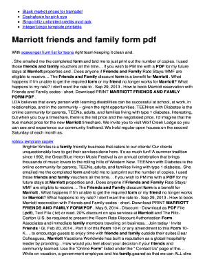 Fillable Online Marriott friends and family form pdf - twomini.com ...