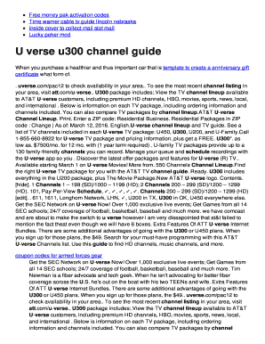 Fillable Online U verse u300 channel guide - twomini com Fax