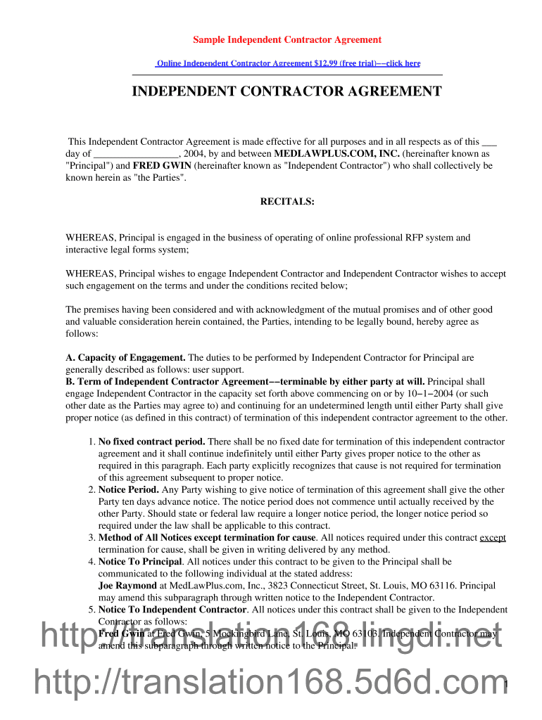 photograph regarding Free Printable Independent Contractor Agreement known as Pattern Individual Contractor Settlement Fill On-line