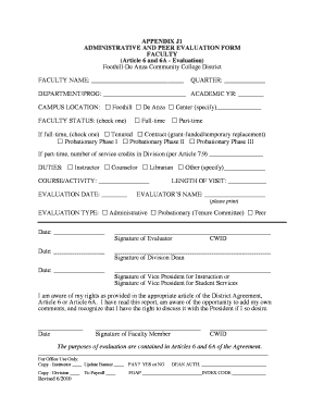 APPENDIX J1 ADMINISTRATIVE AND PEER EVALUATION FORM ...