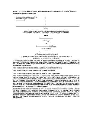 FORM 1.1A.4 TEXAS DEED OF TRUST, ASSIGNMENT OF AS-EXTRACTED ...