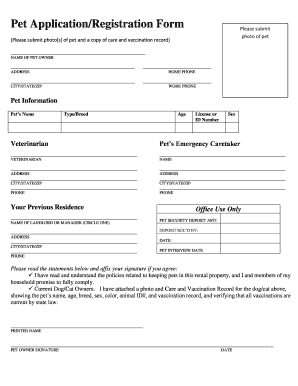 Fillable Online Pet Application/Registration Form - Walnut Knoll ...