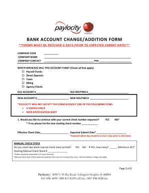 how to change payroll bank account