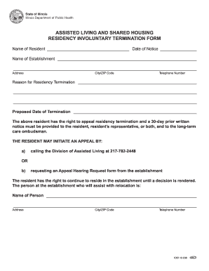 Residency Involuntary Termination Form - Illinois Department of ... - idph state il