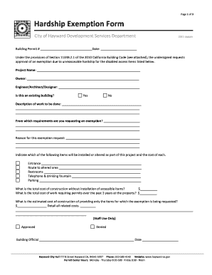 Fillable Online hayward-ca Hardship Exemption Form - City of ...