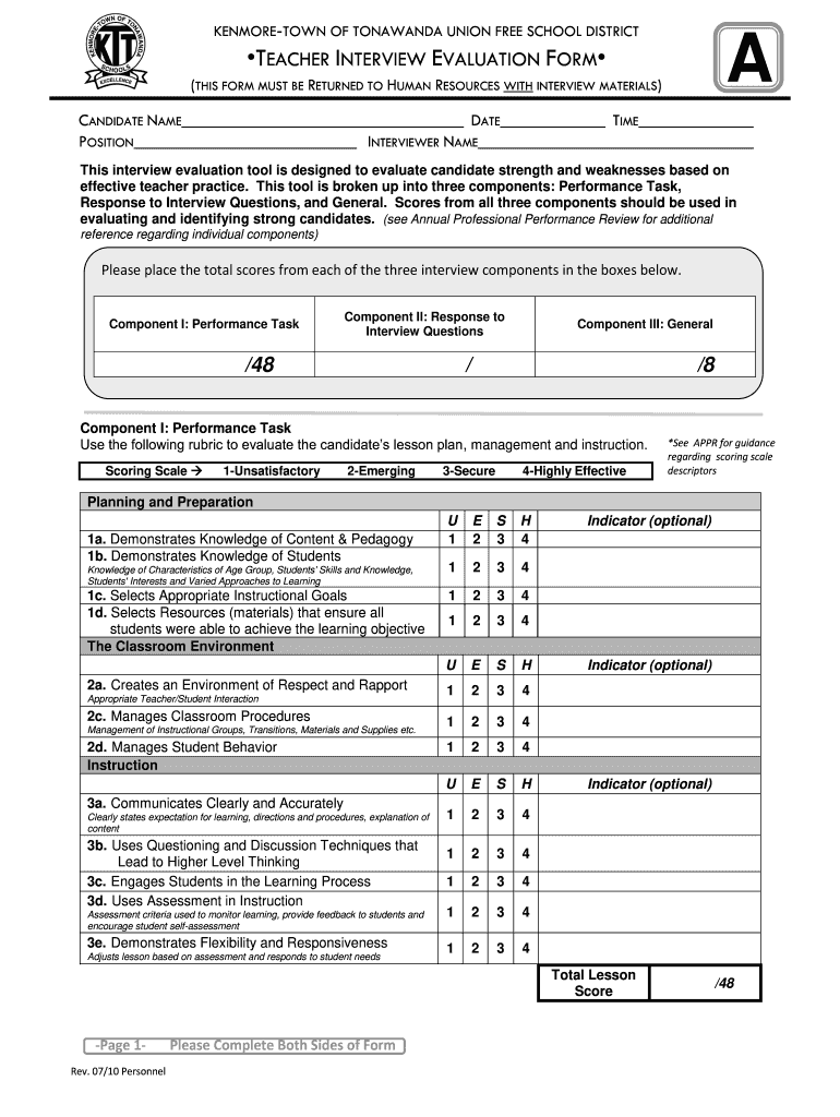 Teacher Interview Rating Sheet Fill Online Printable Fillable Blank Pdffiller