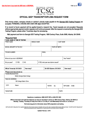 State Of Georgia Ged Request Form - Fill Online, Printable ...