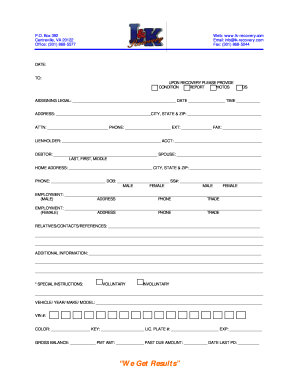 vehicle repossession order form  Repossession Order Form Blank - Fill Online, Printable ...