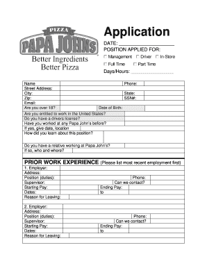 Papajohnsapplication - Fill Online, Printable, Fillable, Blank ...