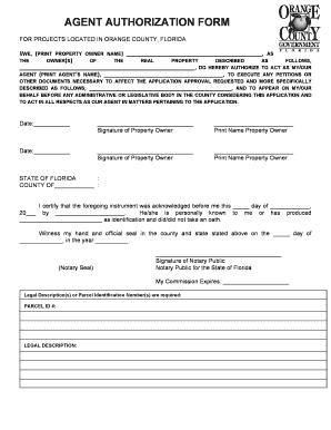 Fillable Online AGENT AUTHORIZATION FORM - Orange County, Florida ...