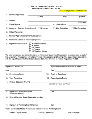 Apprenticeship form fill online printable fillable for Apprenticeship contract template