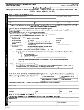 Fillable Online Colorado Employer Change Request State Legal Forms - Colorado legal forms