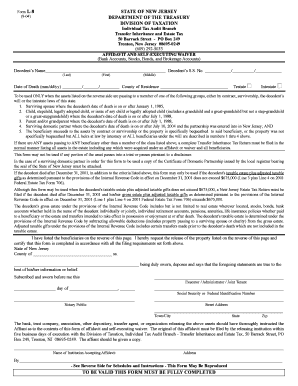 Affidavit And Self Executing Waiver State Of New Jersey - Fill ...