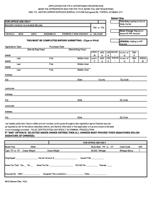 Fillable Online Kansas Application For Title Apportioned - Kansas legal forms