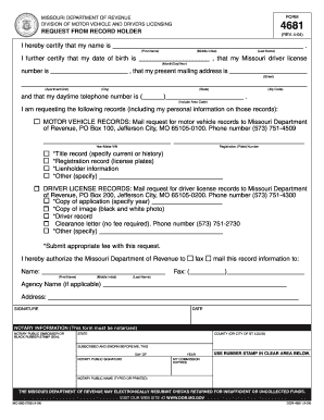 Fillable Online Missouri Request From Record Holder State Legal - Missouri legal forms