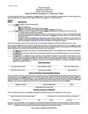 Fillable Online Georgia Insurance Settlement Notice Title Not - Georgia legal forms