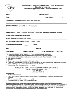 Fillable Online USE THIS - Scholarship Application Form revised ...