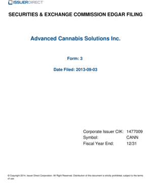 Advanced Cannabis Solutions Inc - filings irdirect
