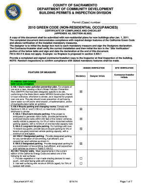 FI-42 - 2010 Green Code Certificate and Checklist (Non-Residential) - building saccounty