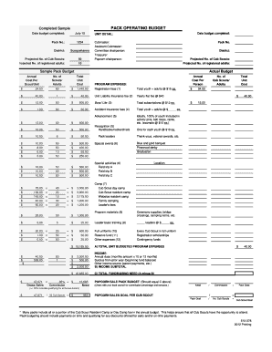 Sample Pack Operating Budget - Boy Scouts of America - scouting