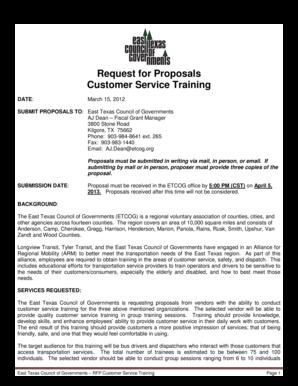 Fillable Online etcog Request for Proposals Customer Service