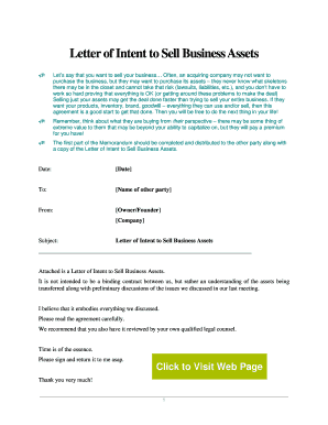 Letter of Intent - Sell Business Assets