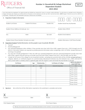 Number in Household & College Worksheet Dependent Student ... - studentaid rutgers