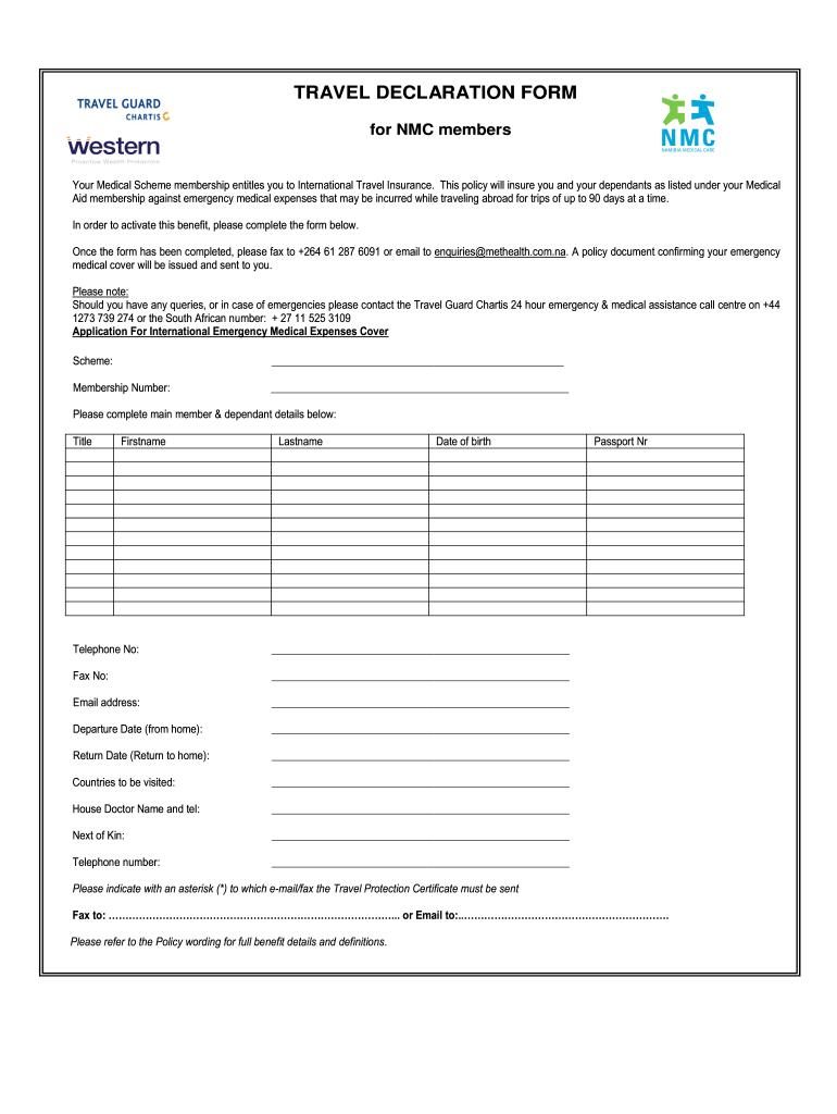 Online Travel Declaration Form Fill Online Printable Fillable