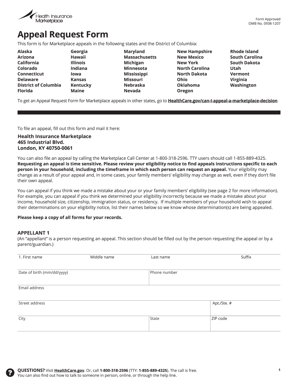 Health Insurance Marketplace Appeal Request Form 0