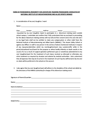 How To Fill Form Of Indemnity For School Excursion - Fill Online