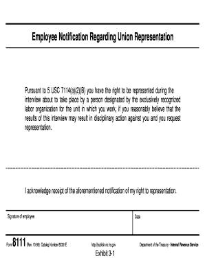 Fillable Online Employee Notification Regarding Union