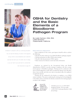 OSHA for Dentistry and the Basic Elements of a ... - Dentaltown