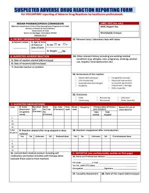 Adverse Drug Form Filling Online - Fill Online, Printable