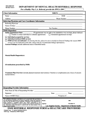 Referral Response Form - Los Angeles County - file lacounty