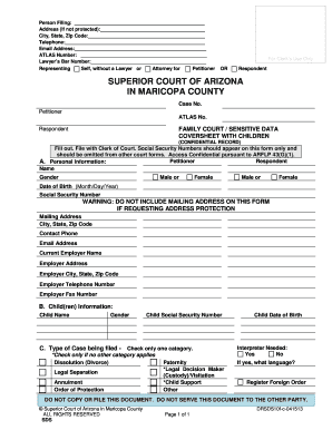 FAMILY COURT SENSITIVE DATA COVERSHEET WITHOUT CHILDREN (Confidential Record). FAMILY COURT SENSITIVE DATA COVERSHEET WITHOUT CHILDREN - superiorcourt maricopa