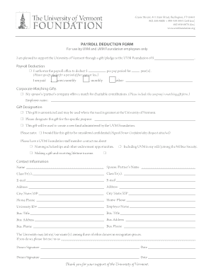 Payroll Deduction Form   UVM Alumni Association   The University .  Payroll Form Templates