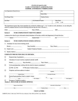 School Attendance Verification Form - washhealth