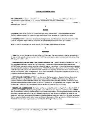 Fillable Broker Carrier Agreement Template Edit Online