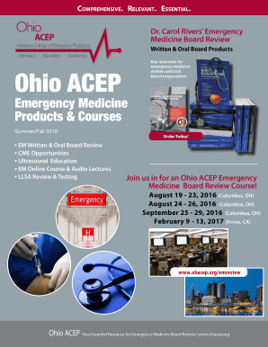 Fillable Online ohacep Emergency Medicine Board Review Courses
