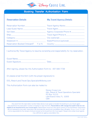 Fillable Online Booking Transfer Authorization Form Disney Cruise Line Fax Email Print Pdffiller