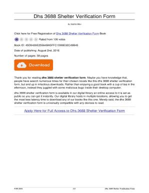 Fillable Online bookactbetter Dhs 3688 Shelter Verification Form ...