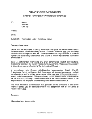 Sample Termination Letter For Cause from www.pdffiller.com
