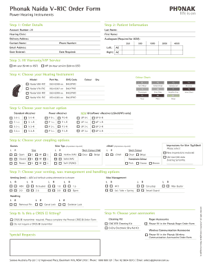 Fillable Online Phonak Naida V Ric Order Form For Professionals Fax