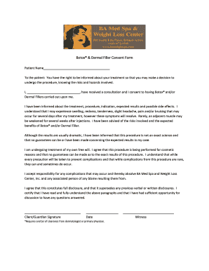 Fillable Online Botox & Dermal Filler Consent Form - BA Med