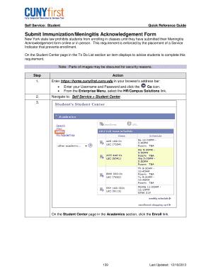 Fillable Online cuny Submit Immunization/Meningitis ...