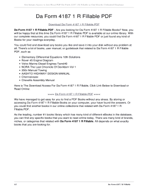 Fillable Online Da Form 4187 1 R Fillable PDF. da form 4187 1 r ...