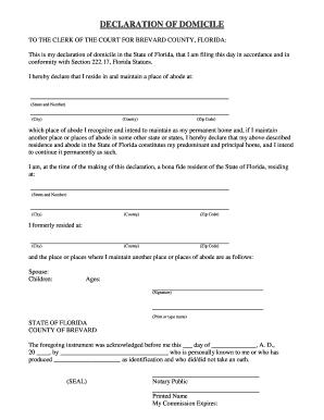 Fillable Online Declaration of Domicile - Brevard Clerk Of Circuit ...