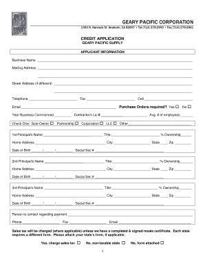 Fillable Online Geary Pacific Credit App Fax Email Print