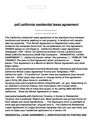 Pdf California Residential Lease Agreement Fill Online